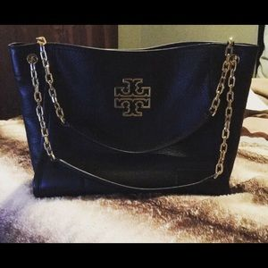 Tory Burch Black Leather Britten Slouchy Tote